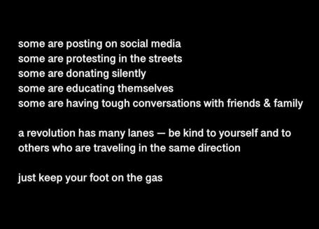 blm- keep your foot on the gas